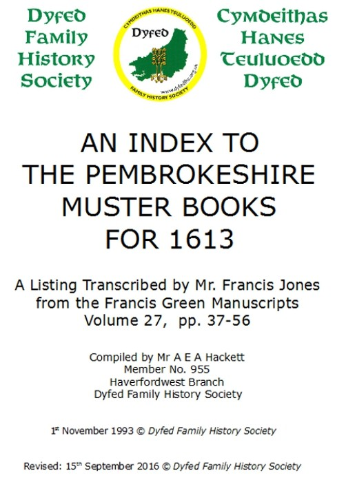 Pembrokeshire Muster Books for 1613